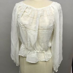 Vintage peasant top blouse sheer
